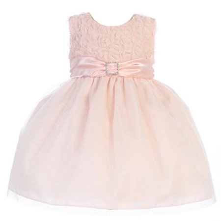 Crayon Kids Little Girls Peach Glitter Brooch Adorned Dress 24M (Princess Peach Dress)