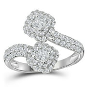 14kt White Gold Womens Princess Diamond 2-stone Bypass Bridal Wedding Engagement Ring 1.00 Cttw