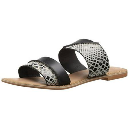 BC Footwear Women's On The Spot Slide Sandal, Black/Multi, 6.5 M US