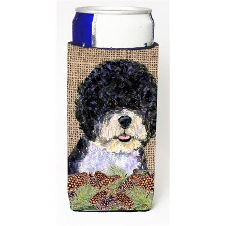 Portuguese Water Dog on Faux Burlap with Pine Cones Michelob Ultra bottle sleeves for slim cans 12 oz. - image 1 de 1