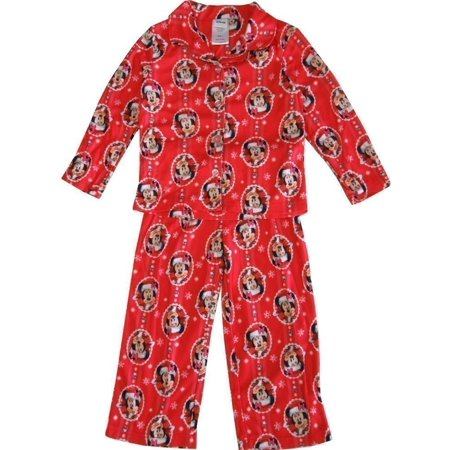 Boutique Christmas Pajamas (Disney Little Girls Red Minnie Mouse Christmas Print 2 Pc Pajama)