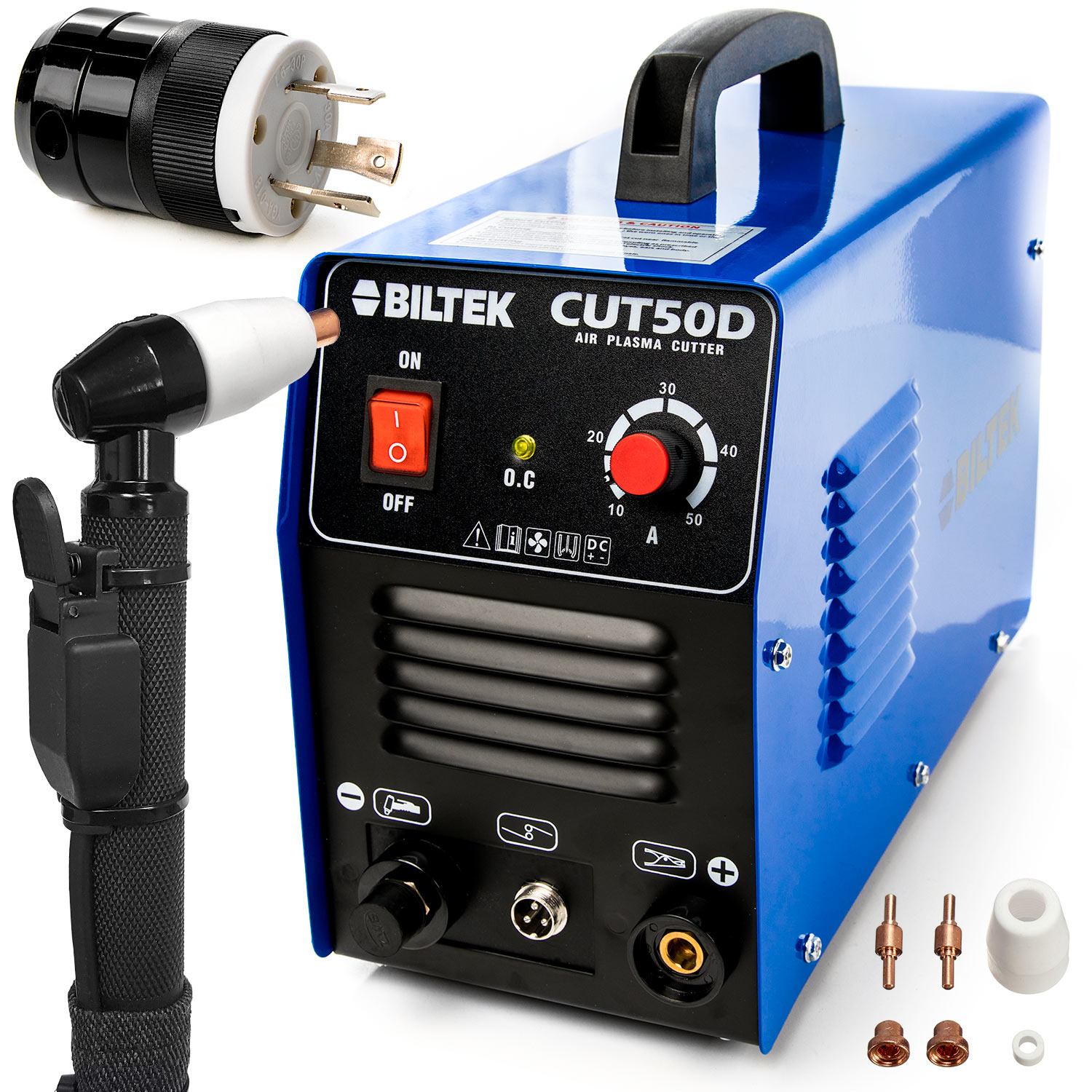 "Biltek 50Amp Air Plasma Cutter, 1/2"" Inch Cut 110V/220V Input CUT50D DC Inverter Dual Voltage with Pre-Installed 110V US Plug + 220V L6-30P Plug, Portable & Easy Quick Setup Metal Cutter"
