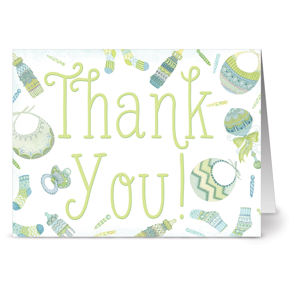 24 Note Cards - Baby Menagerie Thank You Green - Blank Cards - Green Envelopes Included