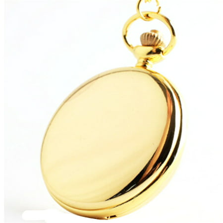 Smooth Gold Tone Pocket Watch Easy to Read Numbers Man Woman Necklace Watch