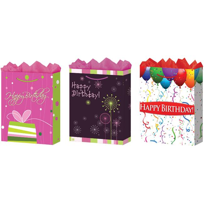 Bulk Buys Jumbo Happy Birthday Gift Bags - Matte - Case of 24