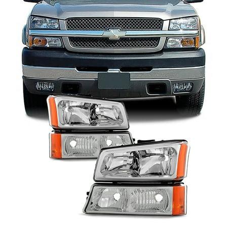 Fit 2003-2006 Chevy Silverado 2003-06 Avalanche Headlights+Bumper Signal
