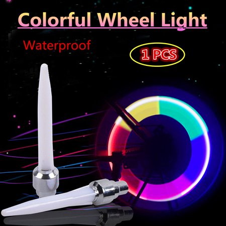 Insker 1 PC Colorful Automatic change color Flash Tyre Wheel Valv e Cap Light for Car Bike bicycle Motorbicycle Wheel Light Tire (Colorful Rims)