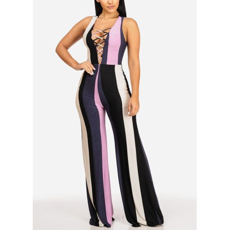 48d4a058e76 Womens Juniors Sexy Sleeveless Lace Up V Neckline Wide Leg Stripe Jumpsuit  30607P Image 1 of