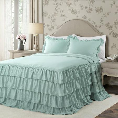 Queen 3pc Allison Ruffle Skirt Bedspread Set Aqua - Lush Décor