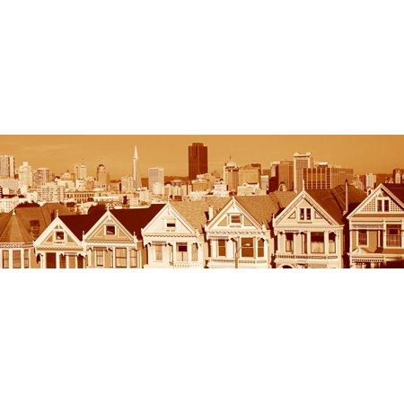 Other Pastels (These are the historic Victorian homes in front of the skyline on Steiner Street in sepiatone They are painted pastel colors and line up next to each other in row house formation Poster Print )