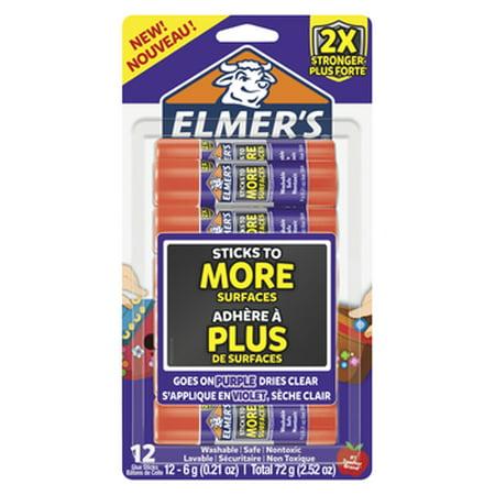 Elmer's Extra Strength Glue Sticks, 0.21 Ounces, Pack of 12 0.24 Ounce Repositionable Stick
