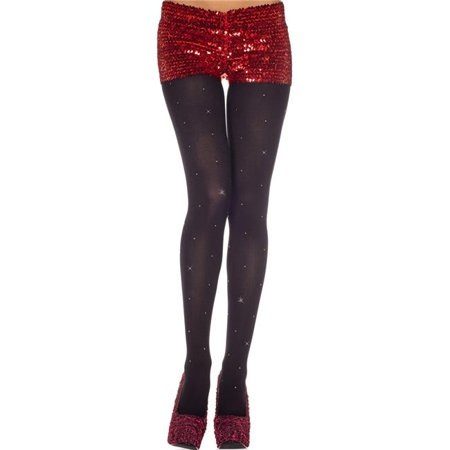 - Music Legs 37002-BLACK Studs Spandex Opaque Tights - Black