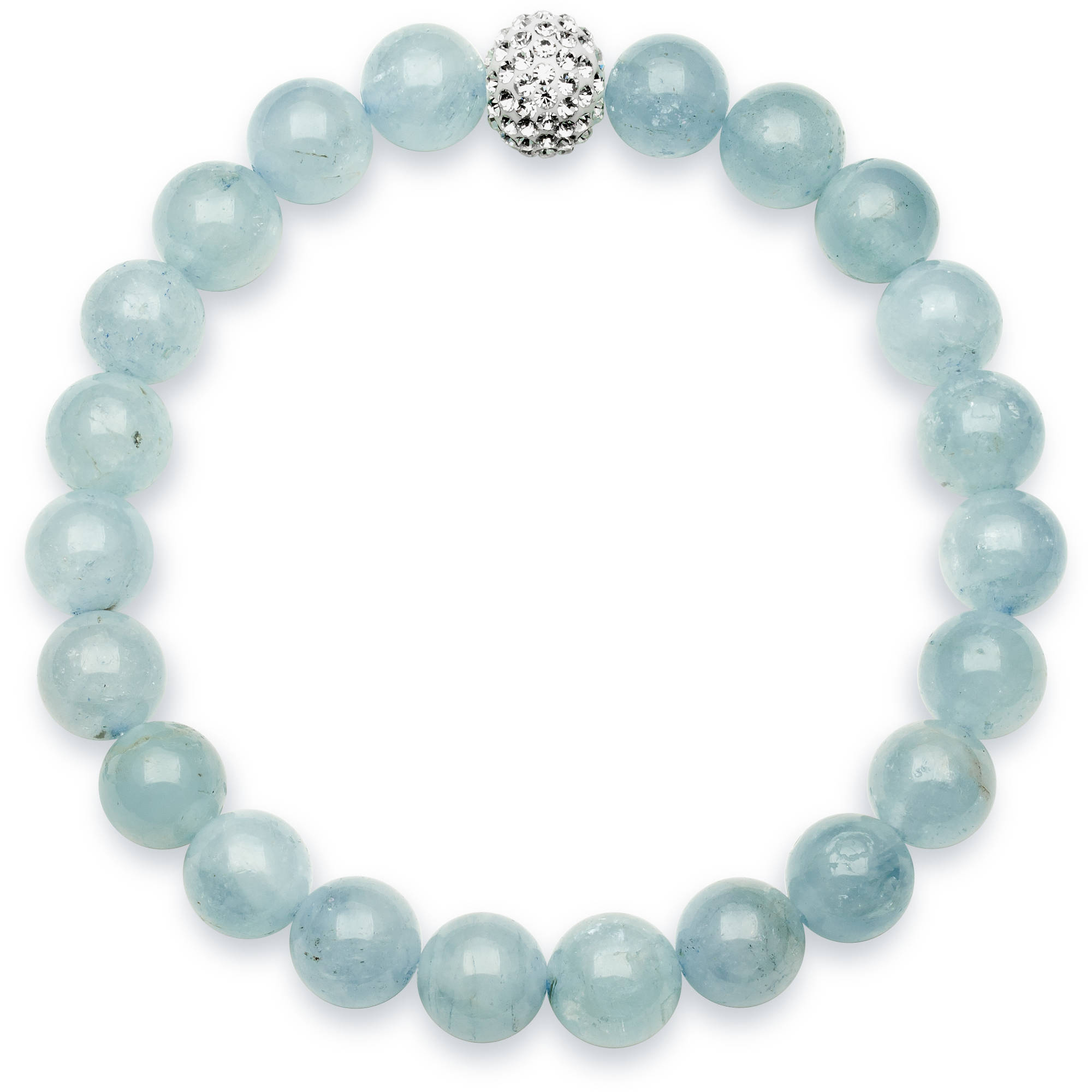 """8mm Milky Aquamarine and Crystal Bead Stretch Bracelet, 7"""" by China Pearl"""