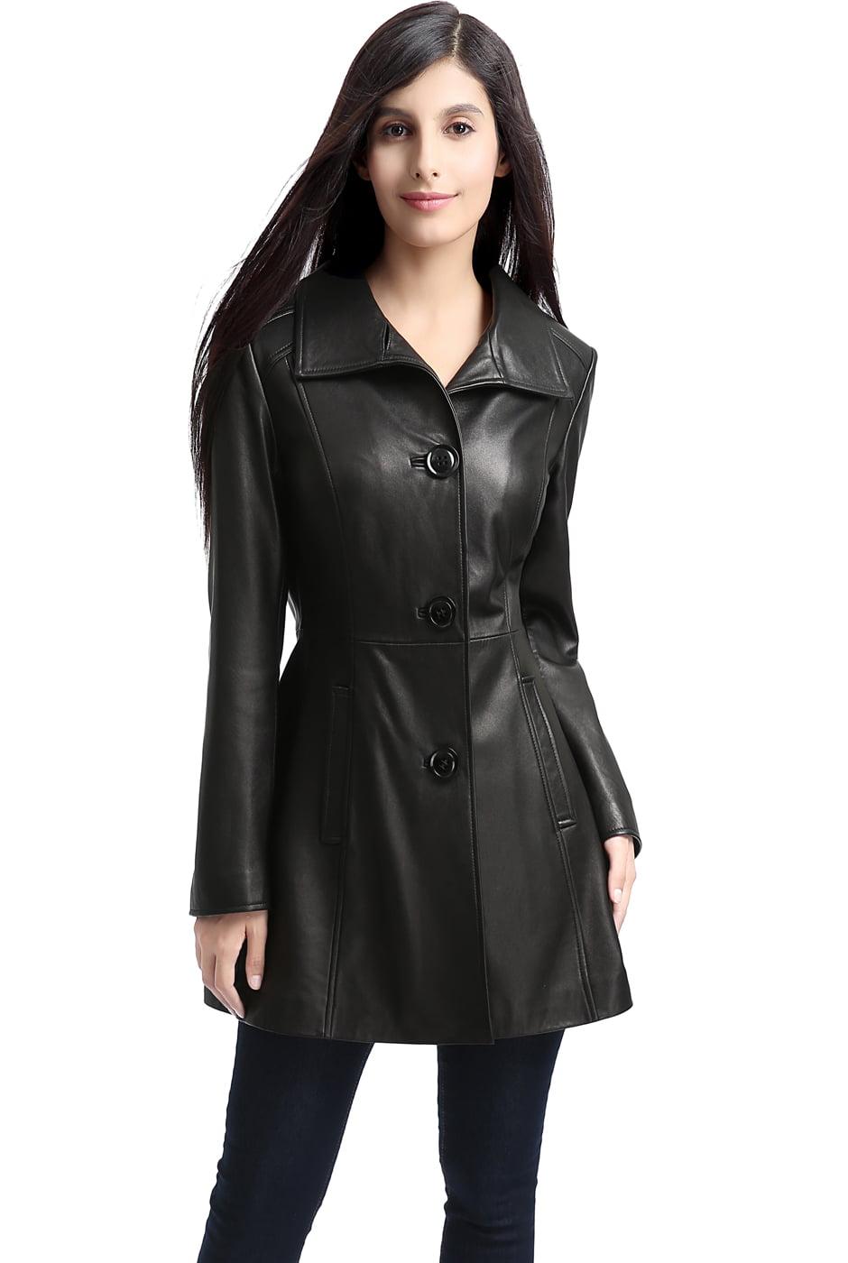 """Women's """"Belle"""" New Zealand Lambskin Leather Walking Coat - Regular & Short"""