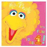 Sesame Street 36 Ct Lunch Napkins Value Pack 1st Birthday Big Bird