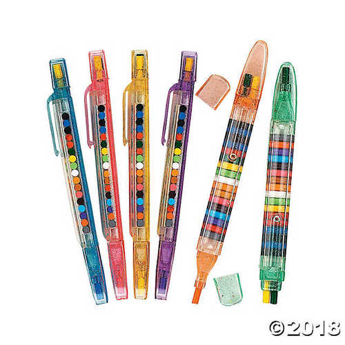 Fun Express Multicolored Transparent Glitter Stacking Point Crayons (1 Dozen)