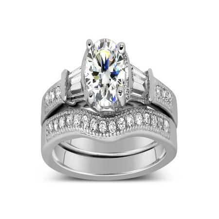 Antique 1 Carat Round Diamond Wedding Ring Set for Her in White Gold Antique White Gold Ring