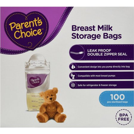 Parents Choice Breast Milk Storage Bags, 100 ct