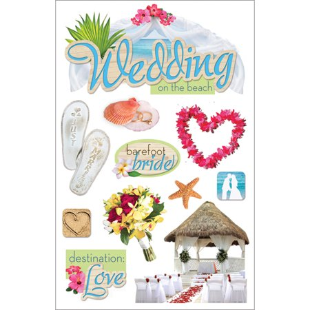 """Paper House 3D Stickers 4.5""""x8.5""""-Beach Wedding - image 1 of 1"""