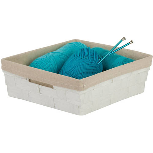 Honey Can Do Wire and Paper Rope Square Basket with Liner, White/Beige