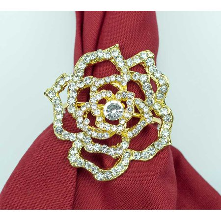 Filigree Rose Napkin Rings Set of 4 Sparkling Gold Napkin - Napkin Ring Holders