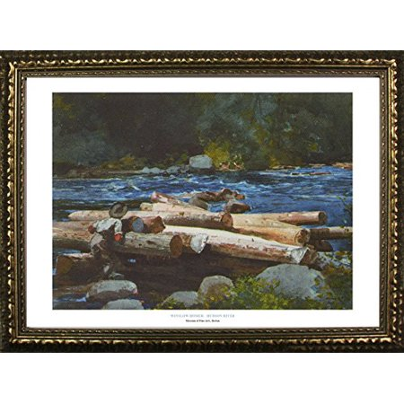 (buyartforless FRAMED Hudson River by Winslow Homer 24x36 Art Print Poster Famous Painting Landscape River Forest Lumber Rocks From Museum of Fine Arts Boston Collection)