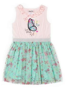 Little Lass Girls 4-6X 3D Sleeveless Butterfly Printed Tulle Shimmer Tutu Dress