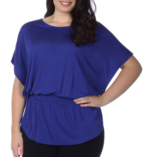 In The Mix Womens Plus-Size Fashion Blouson Top With Flutter Sleeves