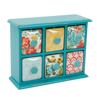 The Pioneer Woman Vintage Floral 6-Drawer Spice & Tea Box