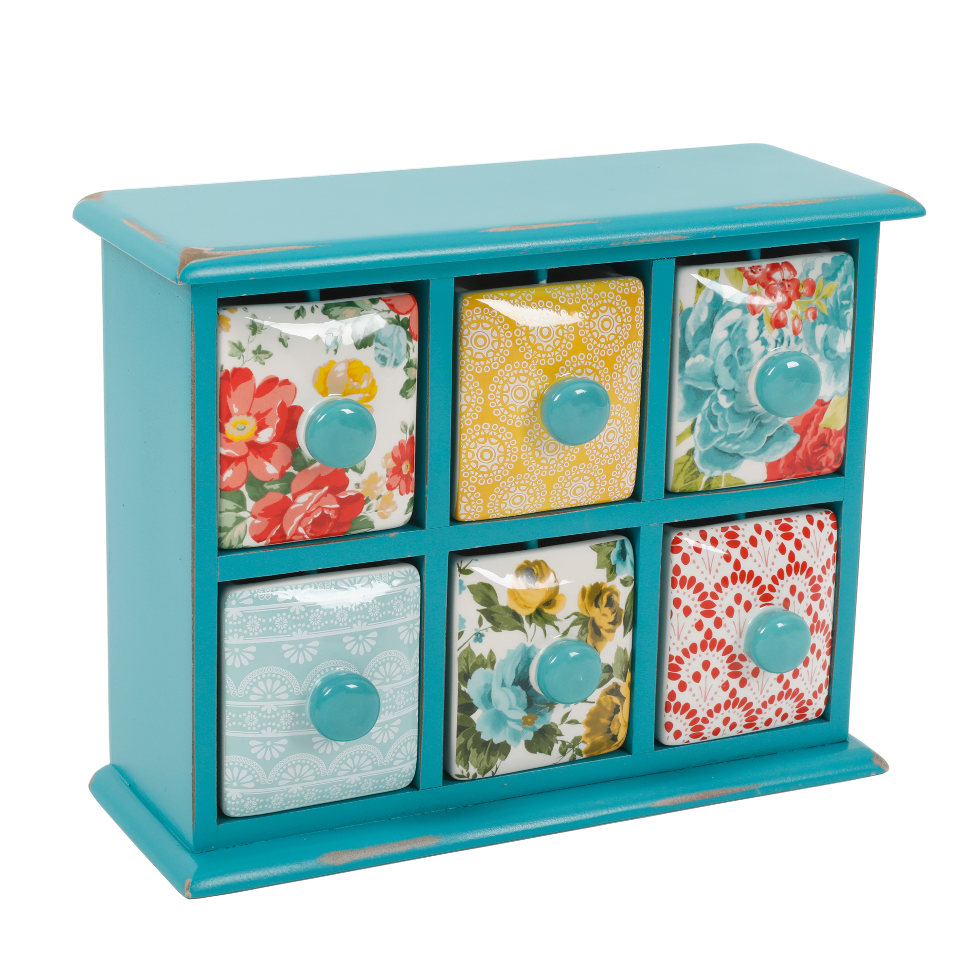 The Pioneer Woman Vintage Floral 6-Drawer Spice /Tea Box