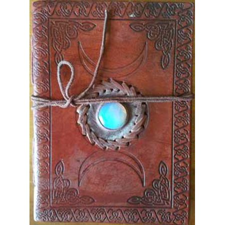 "Triple Moon Shining Blue Center Stone Embossed Leather Writing Creative Journal Diary Dream Notebook Cord Wrap Closure 200 Unlined Pages Handmade Paper 5"" x 7"""