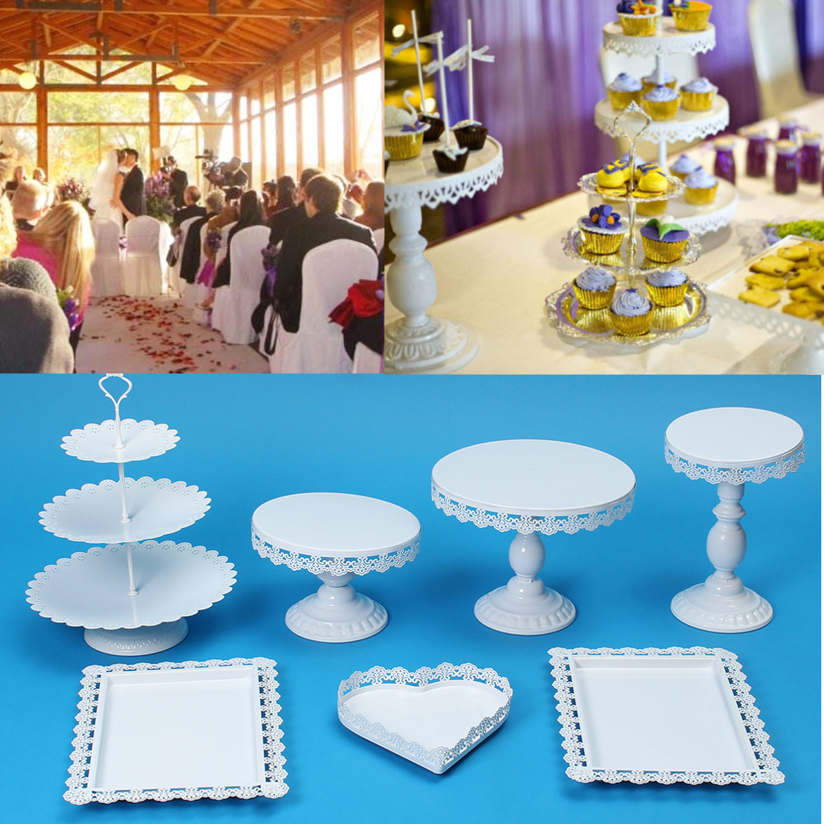 Click here to buy 7Pcs Set Crystal Metal Cake Holder Cupcake Stand Birthday Wedding Party Display.