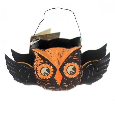 Halloween FLYING OWL TIN BUCKETS Metal Container Tf6137 - This Is Halloween Metal Tab