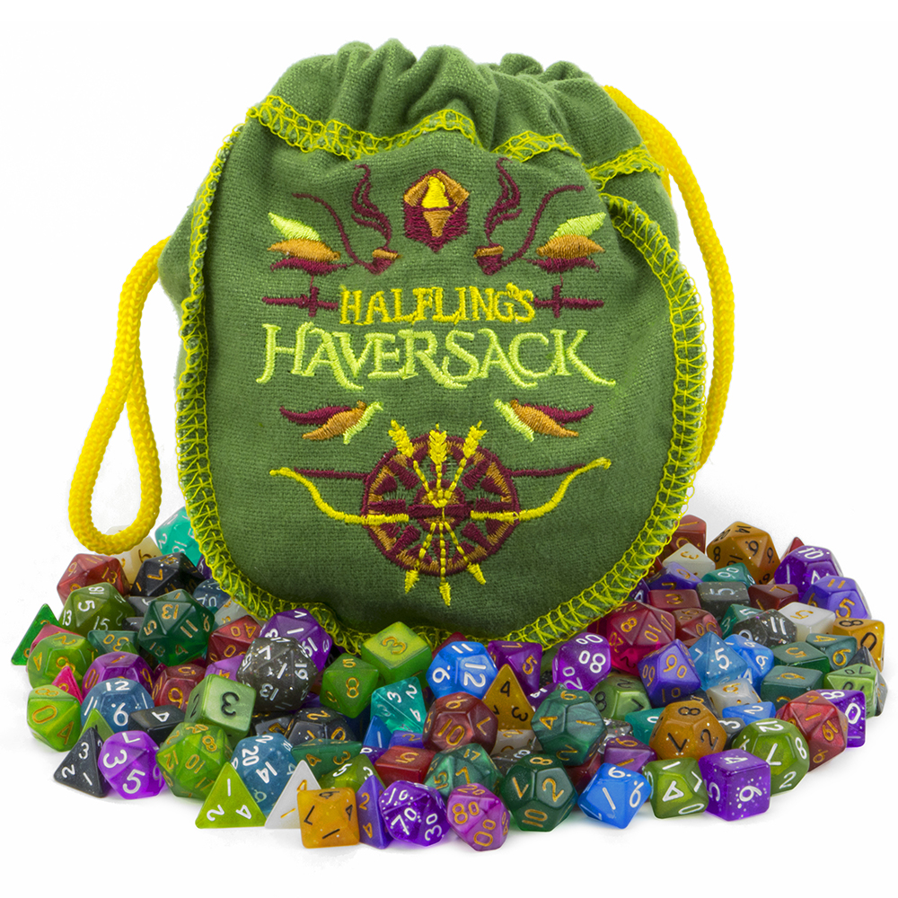 Halfling's Haversack: 140 Mini 10mm Polyhedral Dice, Sets of 7 for Tabletop RPGs
