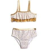Toddler Girl Kisses Gold Foil Bikini Swimsuit