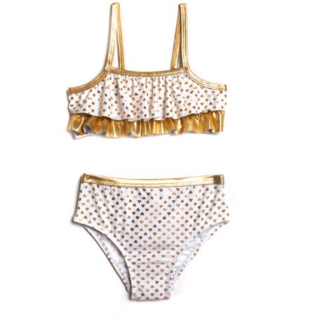 Op Toddler Girl Kisses Gold Foil Bikini Swimsuit
