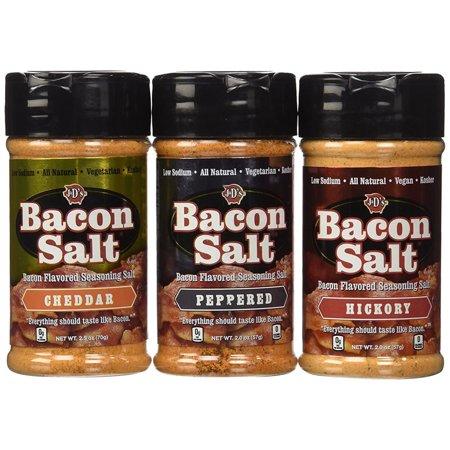 Hickory Flavor - Bacon Salt Sampler (3 Pack) - Cheddar, Peppered & Hickory Bacon Flavored Seasoning Salts Gift Set