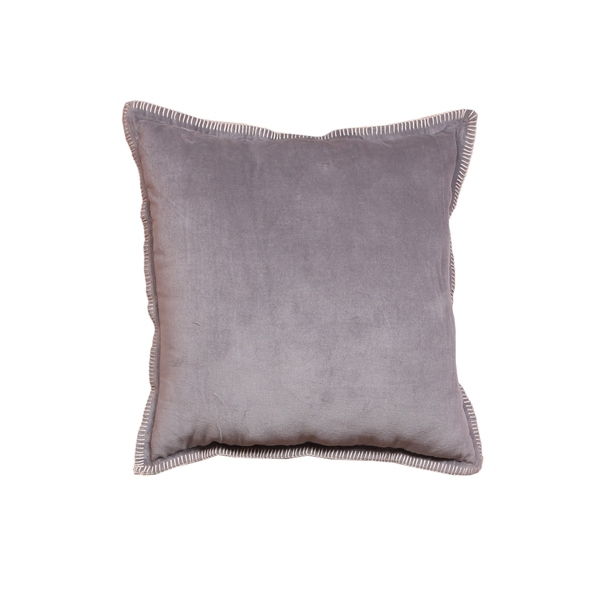 Intrade Global Cabana Velvet Throw Pillow (Set of 2) Light Gray with a Pair of Coaster by Intradeglobal LLC