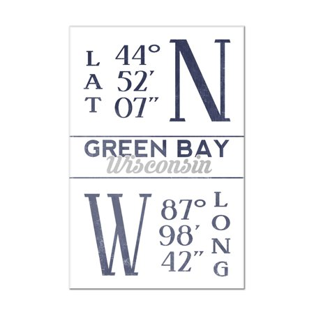 Green Bay, Wisconsin - Latitude & Longitude (Blue) - Lantern Press Artwork (8x12 Acrylic Wall Art Gallery Quality) Acrylic Low Bay Lights