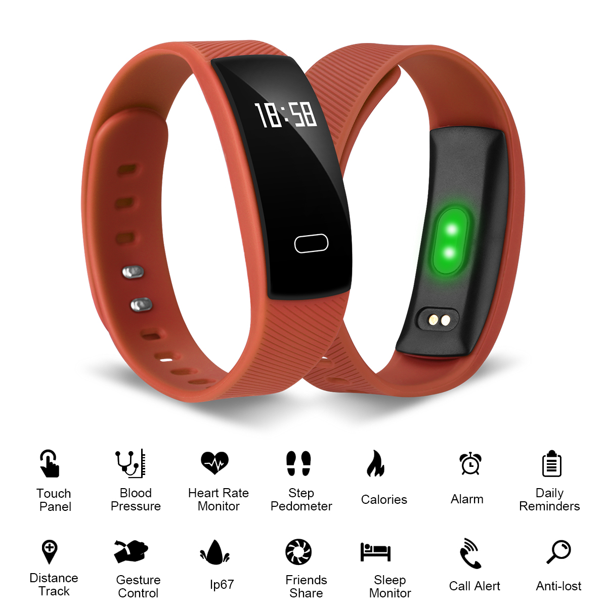 Diggro Men Women Waterproof Bluetooth Fitness Tracker Bracelet Smart Wrist Watch Heart Rate Blood Pressure Monitor Band for iphone Android Touch Screen