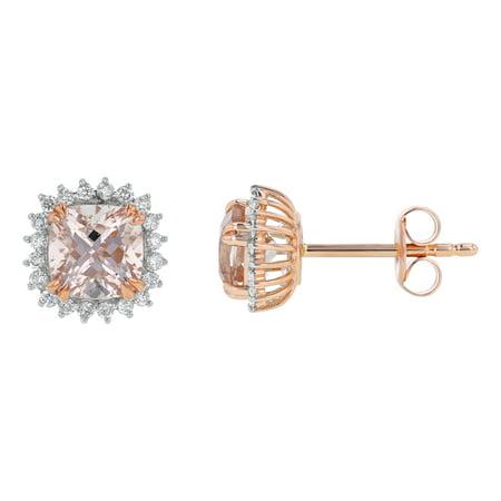 14k Rose Gold 1.0 Carat Halo Cushion Cut Pink Morganite and 1/10 Carat Diamond Stud Earrings (H-I, SI2-I1)