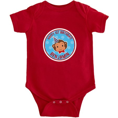 Personalized Birthday Baby Bodysuit, Party Monkey
