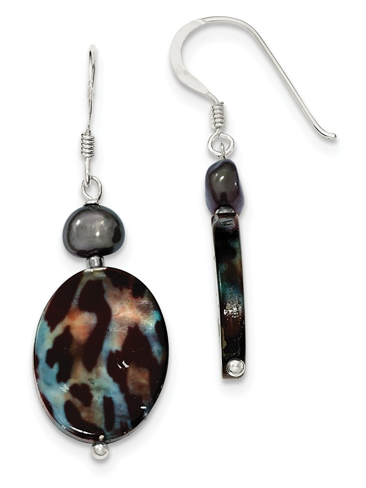 925 Sterling Silver Pearl and Tiger MOP Dangle Earrings for Women