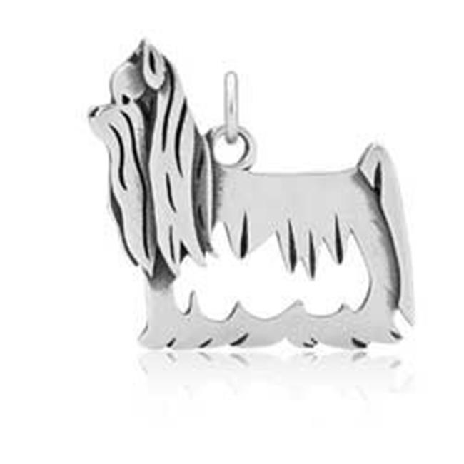Sterling Silver Yorkie Yorkshire Terrier Pendant with Show Cut Body - image 1 de 1