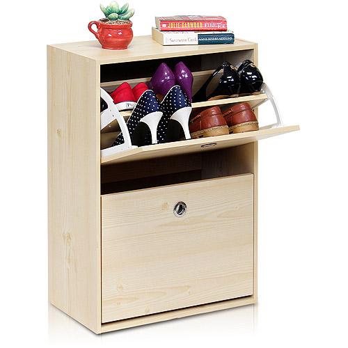 Furinno FNAJ-11047-3 Rubik 2-Door Shoe Storage Cabinet, White Maple