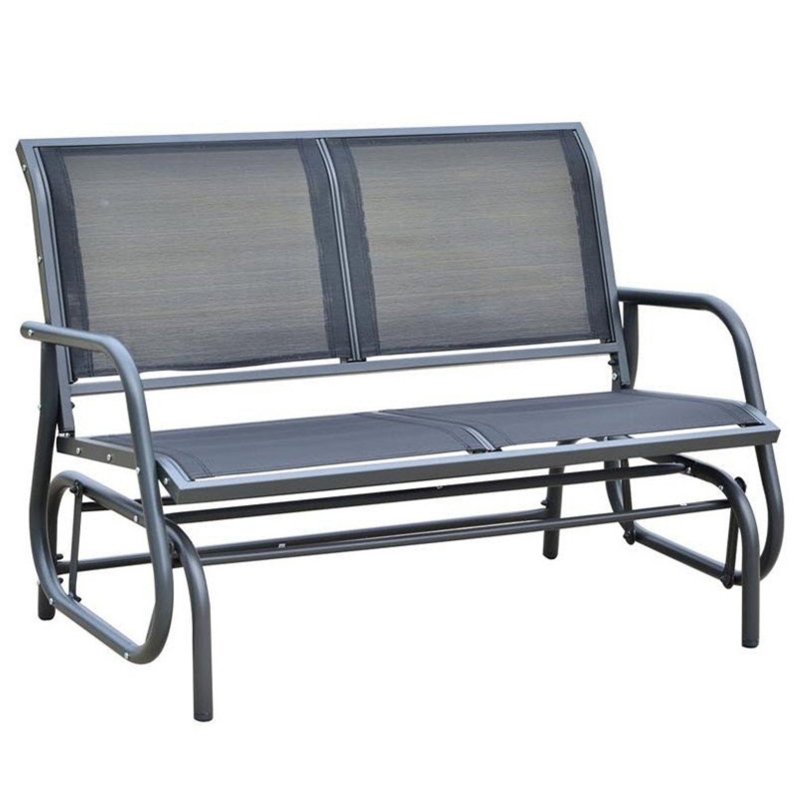 Outsunny 48 in. Black Steel Outdoor Glider Bench