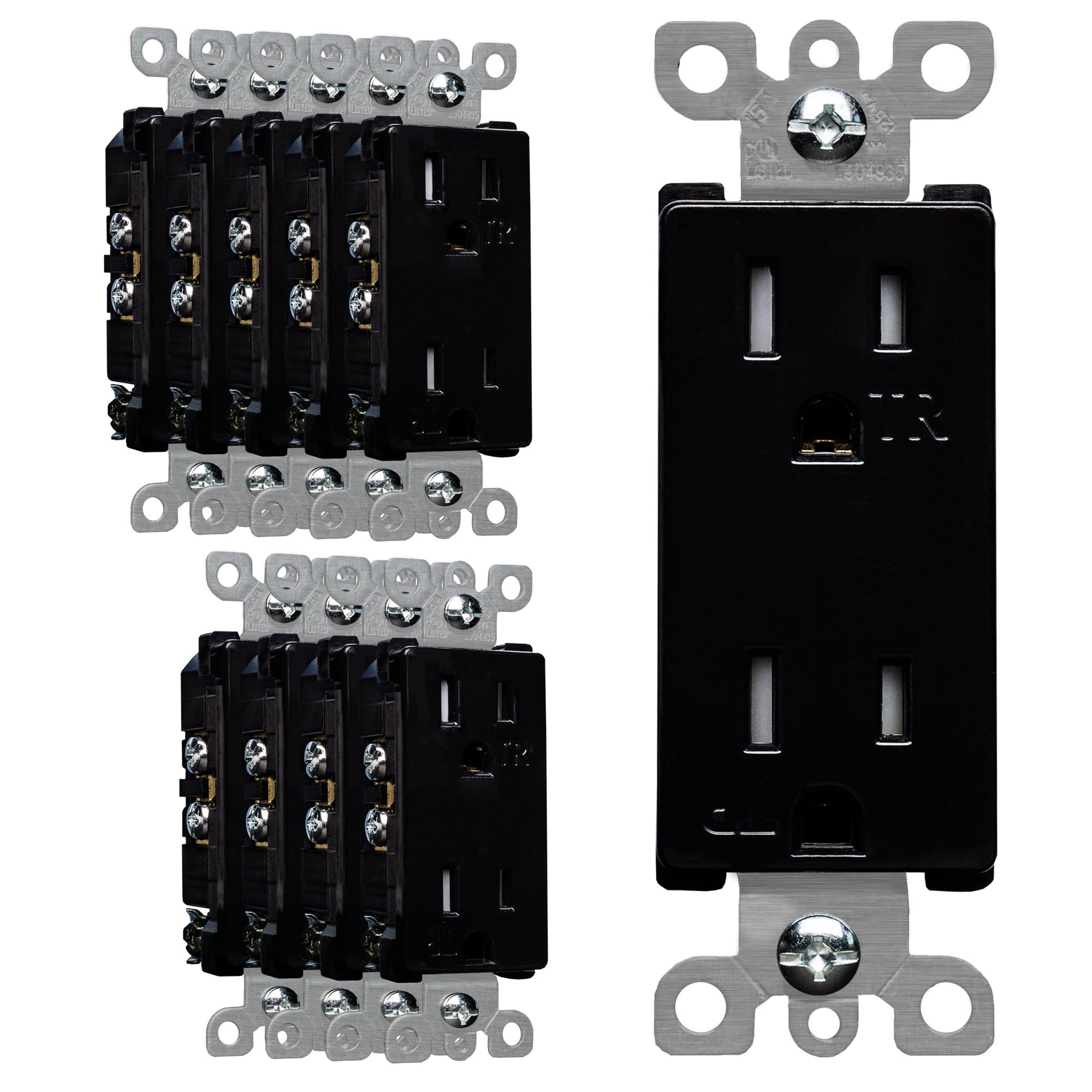 10 PACK SURGERITE Decora Receptacle Outlet 15AMP 125V Tamper Resistant White