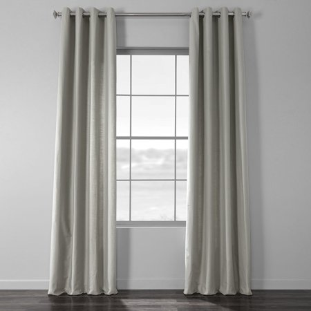 Exclusive Fabrics  Solid Country Cotton Linen Weave Grommet Curtain