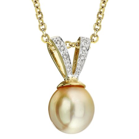 Golden South Sea Cultured Pearl & Diamond V-Shape Pendant Necklace in 14K Gold