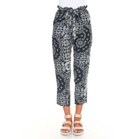 Gemans Women's Tropical/Paisley Print Capri Trouser Pants Elastic Self Tie Waistband Two Pockets Black Paisley Small - Flap Pocket Capri